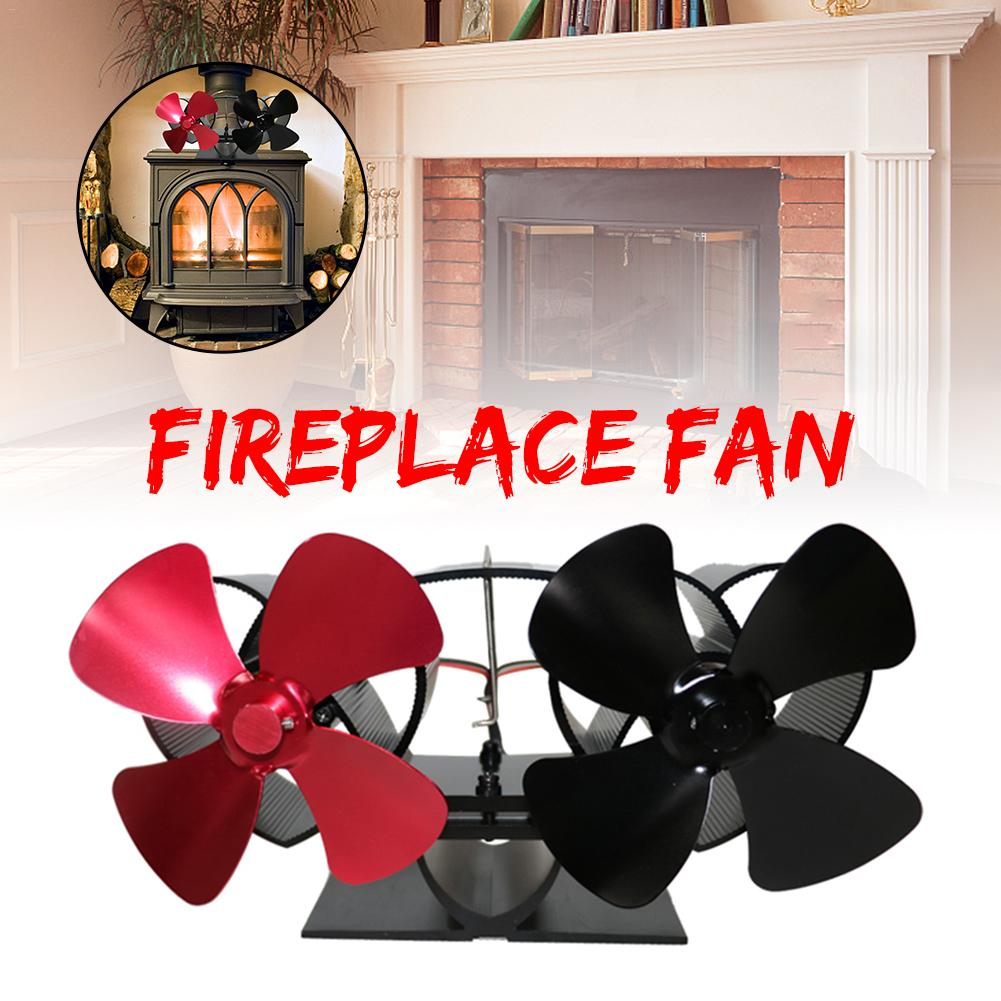 Fireplaces Stove Fan Double Motor 8 Blade Heat Powered Stove Fan Specially For Large Room For Fireplace Wood/Log Burner