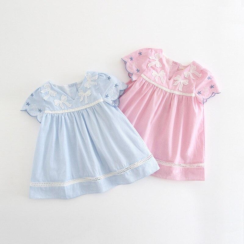 Enfant en bas âge fille robes été belle imprimé rose bleu coton 1-3 ans bébé filles princesse robe 2019 vacances Dressing