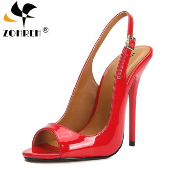 13CM Thin Heels Stiletto Slingbacks Shoes Woman Dress Pantent Leather Sandals Peep Toe Cosplay pumps zapatos mujer Size 41 42 43
