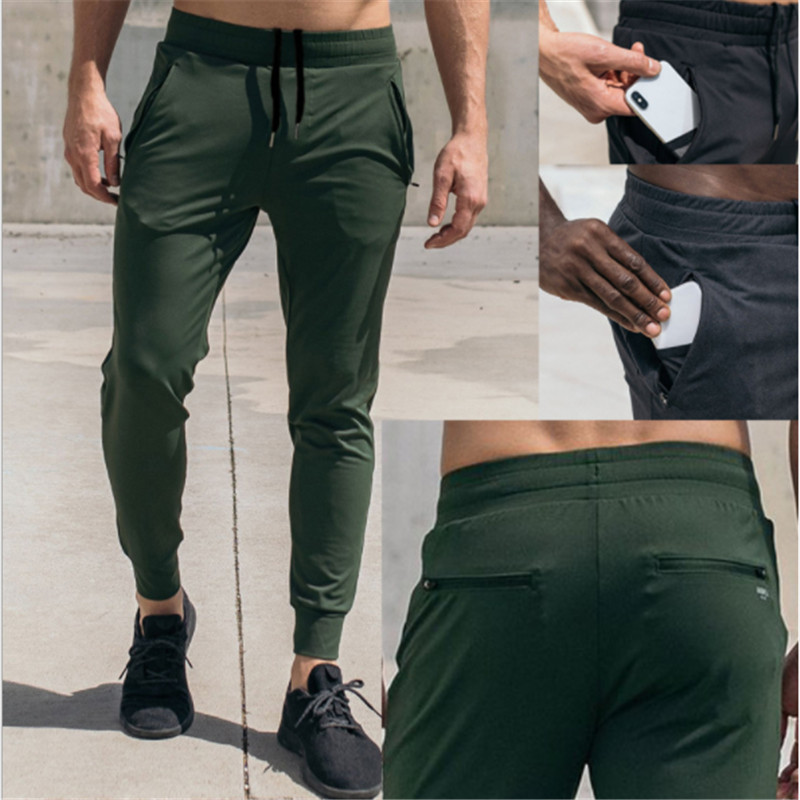 2019 Autumn Mens Joggers Track Pants Gyms Casual Fitness Stitching Zipper Pocket Skinny Sweatpants Trousers Male Brand Pants Men
