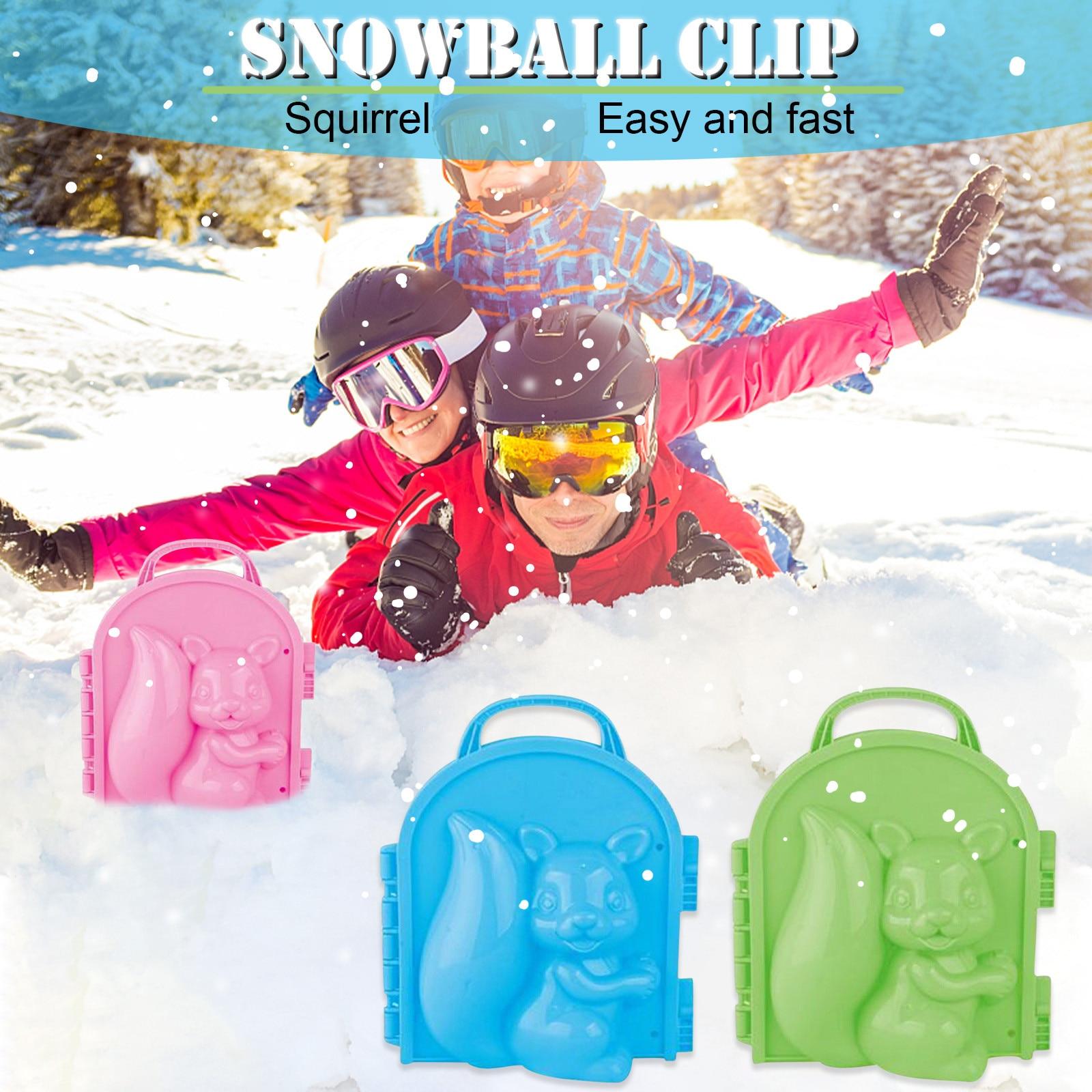 Cartoon-écureuil boule de neige fabricant pince outil hiver Sports de plein air été bord de mer sable moule enfants à la main modèle jouets Jouet