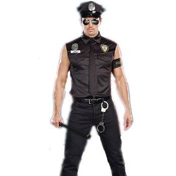 Umorden Halloween Costumes Adult America U.S. Police Dirty Cop Officer Costume Top Shirt Fancy Cosplay Clothing for Men umorden police officer cops costume for adult women men teen girls policeman uniform halloween carnival mardi gras party dress