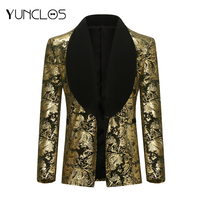 YUNCLOS Men's Golden Blazer Wedding And Party Suit Black  Collar Single-breasted With  One Button