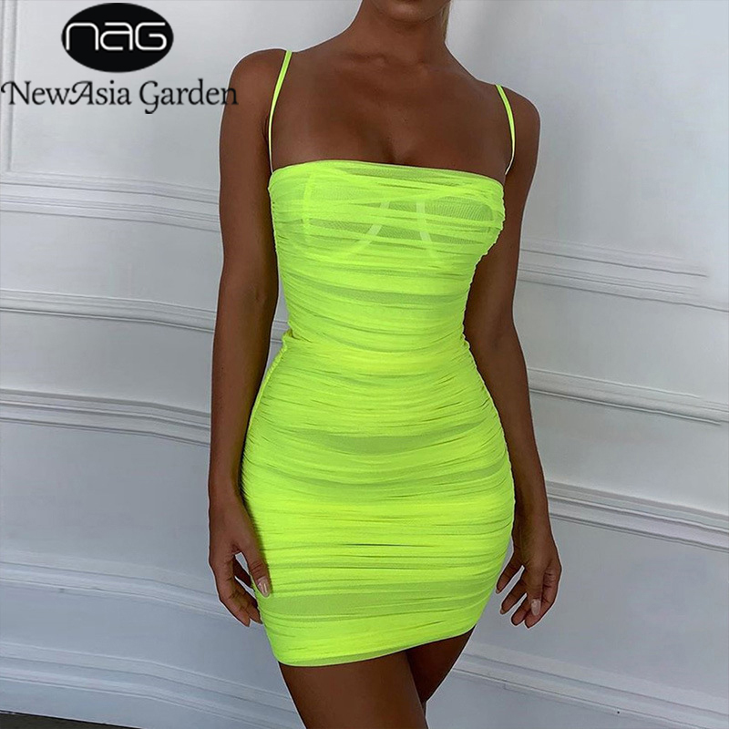 NewAsia Mesh Summer Dress 2020 Women Straps Bodycon Ruched Dress Woman Party Night Club Dress Summer Clothes For Women