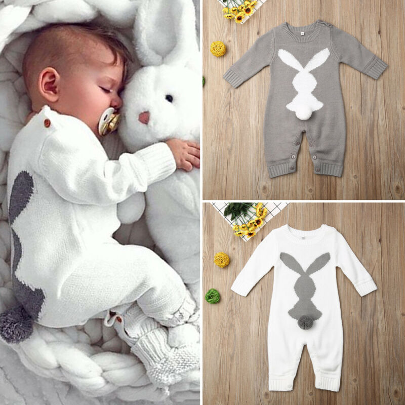 Newborn Baby Boy Girl 0-24M Bunny Knitting Wool Romper Jumpsuit Outfits