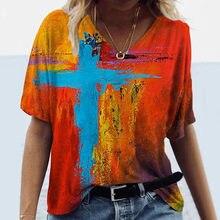 Moda kadın yaz artı boyutu rahat gevşek kısa kollu T shirt çapraz baskılı v yaka üstleri S-5XL