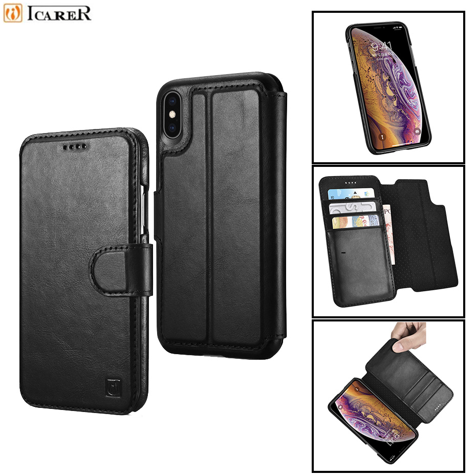 iCarer for iPhone 8 Detachable Genuine Leather Case for iPhone 7  8 Plus 2 in 1 Wallet Cover Card Slots Magnetic Flip Case Coque