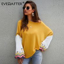 EVERAFTER Elegant patchwork embroidery knitted sweater women O-neck casual knitting jumper loose Winter pullover female