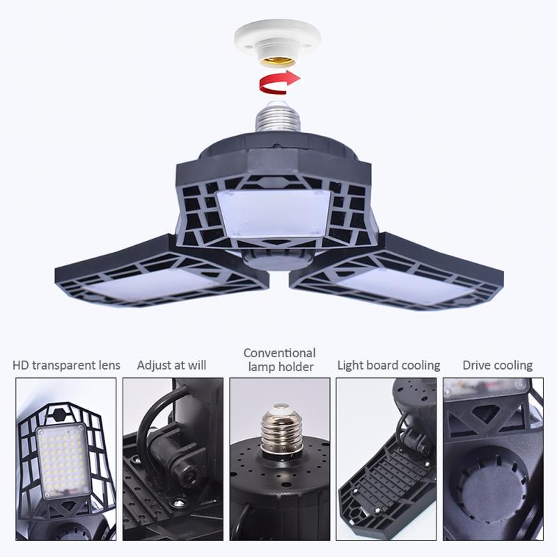 6000lm E26 144 LED Garage Lights Workshop Lamp Lamparas Waterproof Industrial Light Lighting Deformation 3T Blade Fan Light 60W