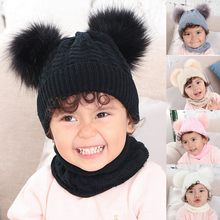 News Soft Stretch Children Ribbit Hat Warm Baby Solid Winter Warm Thread Knit Wrap Double Hair Ball Head Cap Scarf Hat Suit(China)