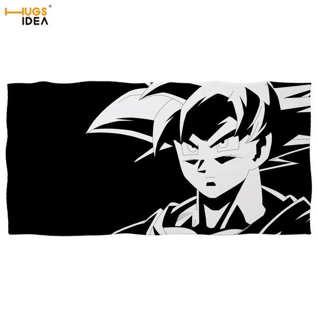 Serviette de plage enfant/adulte | Microfibre, Dragon Ball Z, serviette de plage enfant/garçon blanc et noir, imprimé Anime Hero Goku douche/couverture de bain