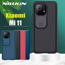 Dành Cho Xiaomi Mi 11 Cực 11X Pro 5G Mi11 Lite Ốp Lưng Nillkin CamShield Trượt Bảo Vệ Ống Kính Máy Ảnh Kính Mờ bao Da Trên Mi 11i