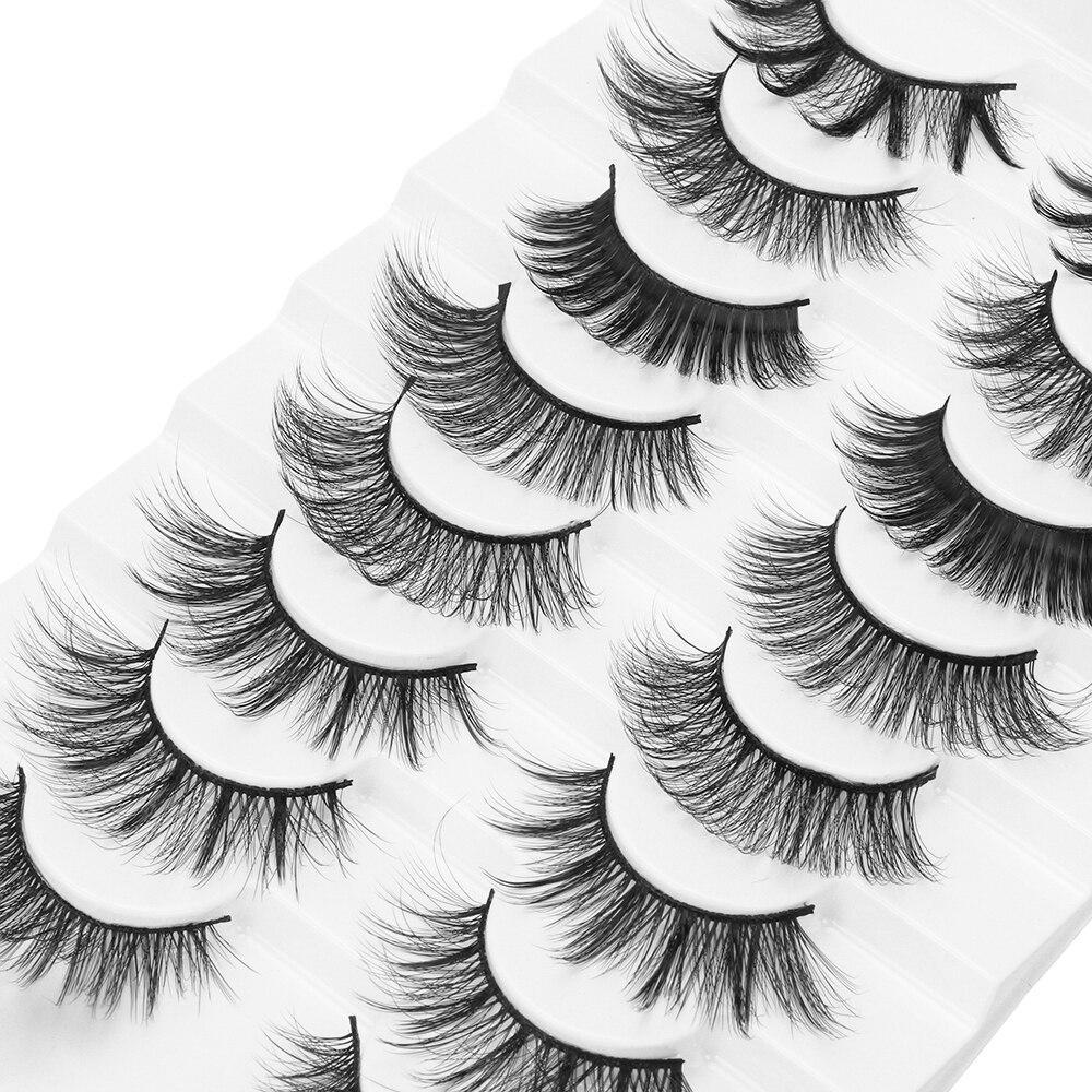LEKGAVD 8 Pairs Mixed Styles 3D Mink False Eyelashes Natural Wispy Criss-cross Fluffy Eyelash Soft Handmade Cruelty-free Lashes
