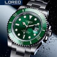 Loreo 브랜드 워터 고스트 시리즈 클래식 그린 다이얼 럭셔리 남자 자동 시계 스테인레스 스틸 200m 방수 기계식 시계|스포츠 시계|시계 -