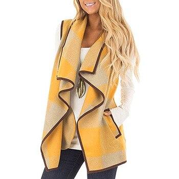 Women Coat Autumn Winter Sleeveless Plush Lapel Plaid Print Cardigan Overcoat Loose Female Jackets Pocket Vest фото