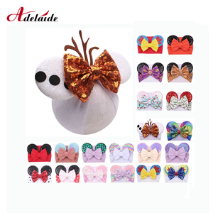 Hair Bows Minnie Mouse Ears Headband Floral Waffle Hair Bows Hair Bands DIY Hair Accessories For Girls Hot-Sale Kids Headwrap