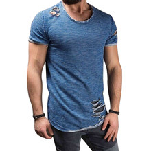 2020 Men summer casual tshirts Sexy Ripped Hole Hip Hop T-shirt Vintage Solid Short Sleeve O-Neck Slim Tops Tees Streetwear(China)