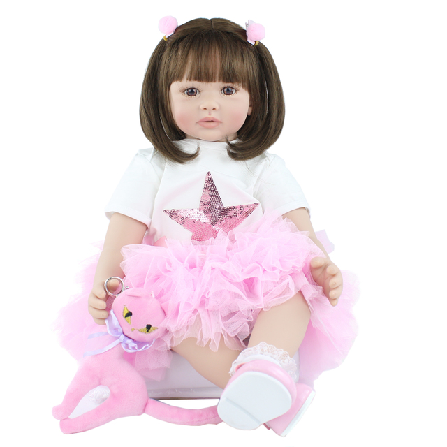 60cm Soft Silicone Reborn Baby Doll Toys Lifelike Vinyl Princess Toddler Girls Babies Dress Up Dolls