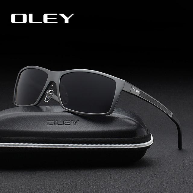 OLEY الرجال الاستقطاب النظارات الشمسية الألومنيوم المغنيسيوم نظارات شمسية نظارات للقيادة مستطيل ظلال للرجال Oculos masculino الذكور