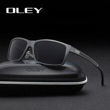 Oley óculos de sol masculino polarizado, óculos de sol de alumínio e magnésio, polarizado, retangular