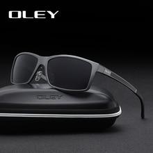 Oley men 편광 선글라스 알루미늄 마그네슘 선글라스 운전 안경 직사각형 음영 남성용 oculos masculino male