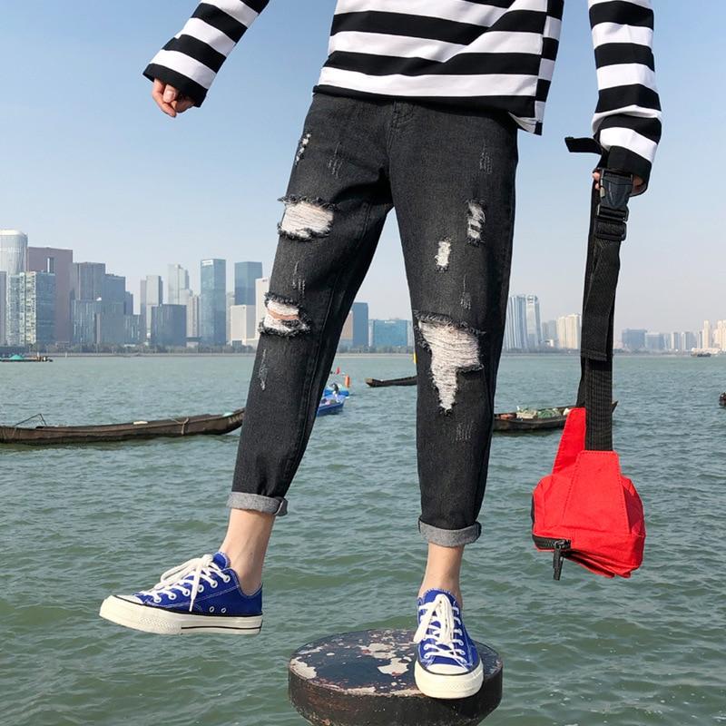 Men Black Ripped Jeans Lower Apron Capri Pants Trend Pants Men's 9 Points With Holes Pants Hong Kong Style