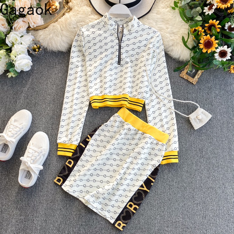 Gagaok женский офисный комплект из двух предметов весна осень новый стоячий воротник короткий пуловер с принтом тонкий облегающий женский мод...