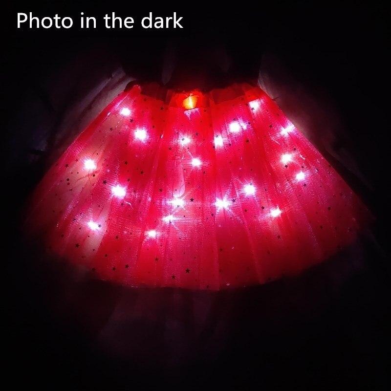 2021 New Light LED Girl Kids Clothes Star Tutu Skirt Princess Party Tulle Pettiskirt Child Ballet Dance  Children  Skirt 2