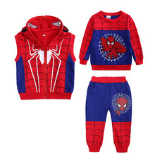 Autumn Winter Baby Boys Clothes T-shirts +Pants 3pcs Sports Suits For Boys Kids Clothes SpiderMan Children Clothing Set 2-7 Year(China)