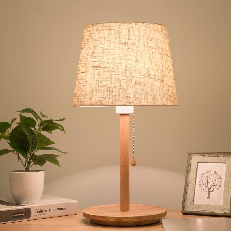 Led настольная креативная лампа для спальни романтическая деревянная защита глаз ins настольная лампа - 1