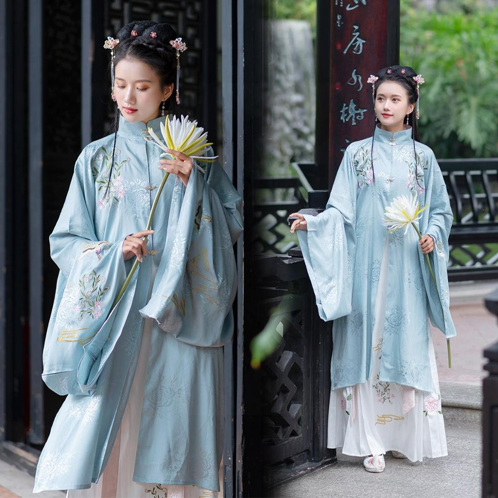 New Hanfu Dress Chinese Women Long Robe Ming Dynasty Ancient Clothes Traditional Elegant Classical Dance Stage Costumes DQL2615