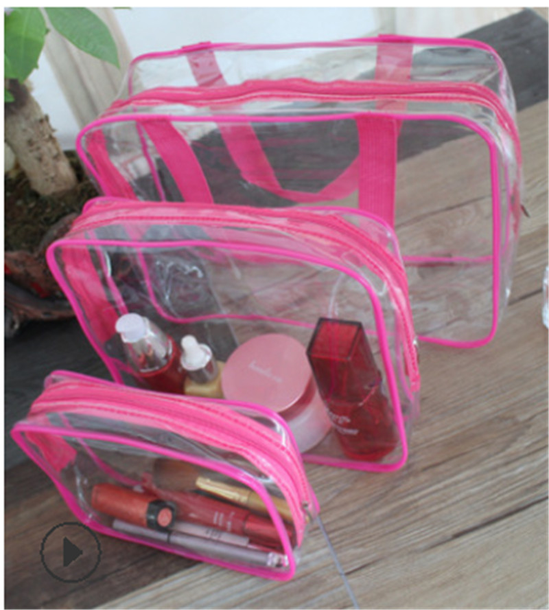 2019 Newest 3pc PVC Clear <font><b>Cosmetic</b></font> Makeup Toiletry <font><b>Bag</b></font> Case <font><b>Travel</b></font> Holder Pouch Wash Kit <font><b>Set</b></font> <font><b>3</b></font> Colors <font><b>Cosmetic</b></font> <font><b>Bags</b></font> Makeup <font><b>Bags</b></font> image