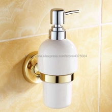 Gold Color Brass Bathroom and Kitchen Ceramic bottle liquid Soap Dispenser Wall Mounted Soap dispensers Holder rack Nba238 black gold color brass kitchen