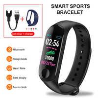 Bluetooth Smart Armband Männer Frauen Blut Druck Herzfrequenz Schritt Zähler fitness tracke wasserdichte m3 smart band