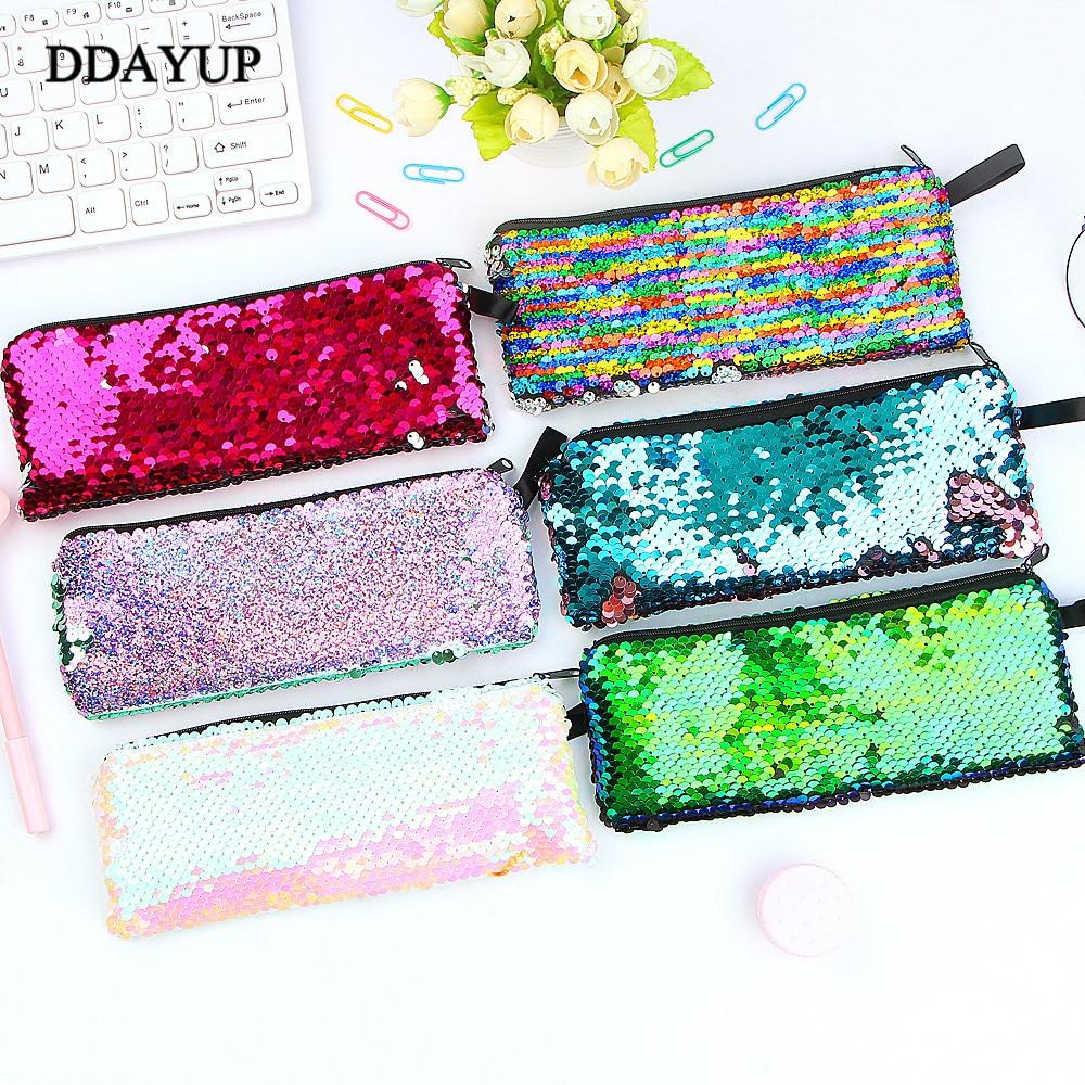 Sequin Pencil Case Flash Sequin Pen Bag School Supplies Girl Handbags Sundries Cosmetic Bag Multi-function Bag