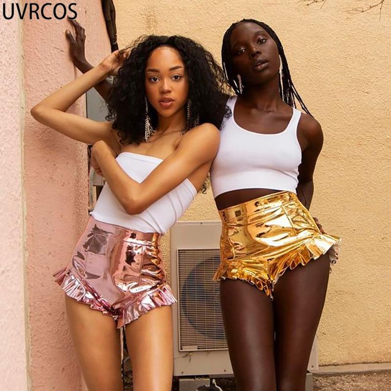 Шорты UVRCOS женские из искусственной кожи, пикантные модные в стиле пэчворк с оборками, с завышенной талией, для бара, ночного клуба, золотые б...