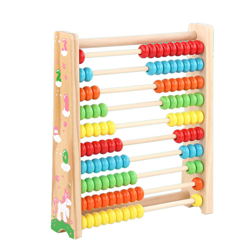 Wood Math Toy Colorful Beads Abacus Computing Rack Learning Mathematical  Early Education Toys For Children Kids Baby
