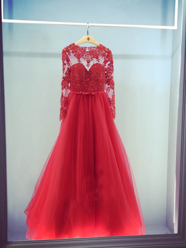 Sexy Long Sleeve Prom Gown See Through 2018 Lace Appliques Vestido De Festa Beading Evening Gown Mother Of The Bride Dresses