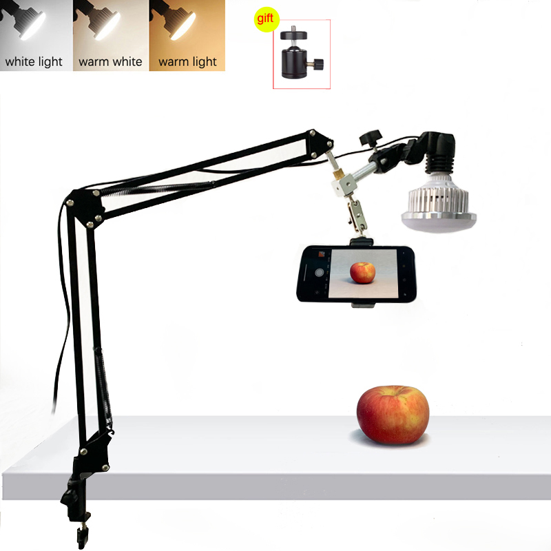 Photography Photo Studio 35W LED Fill Light with Suspension Arm Bracket Stand Kits For Desktop Phone Photo Video Shooting