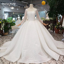 HTL346 new Wedding Dress like white square neck button back long tulle sleeves bridal gown with wedding veil promotion discount(China)