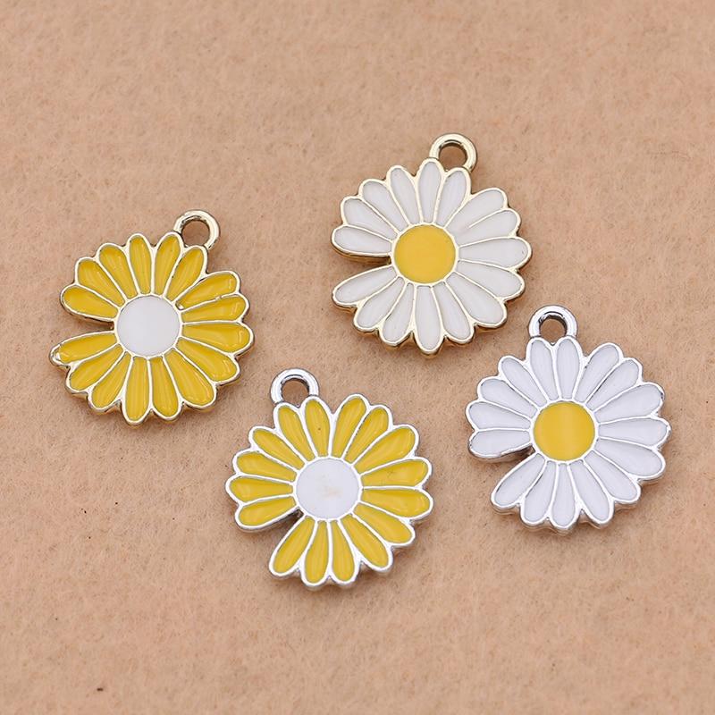 Bracelet Jewelry Pendants Findings Flower Charm Diy-Accessories Handmade Silver-Plated