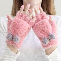 2019 New 1 Pair Women Girls Lovely Fluffy Rabbit Plush Cartoon Half Finger Gloves Mitten Winter Warm Fingerless Gloves Xew