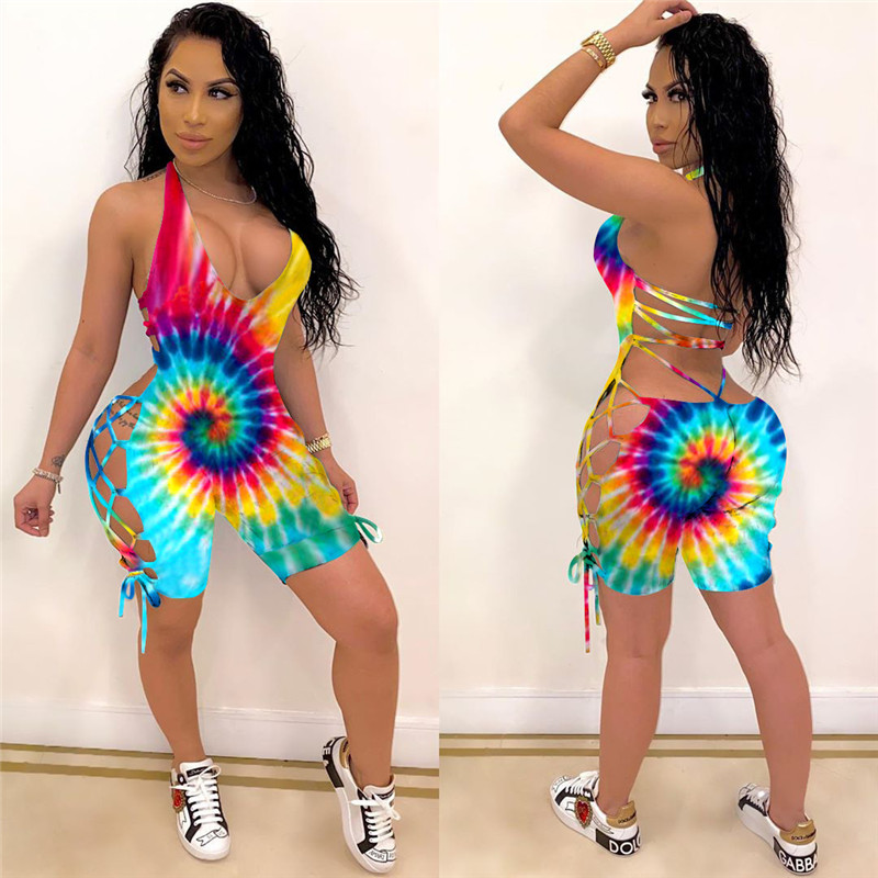 2020 Women Summer Bodysuits Sexy Backless Halter Tie dye Print Rompers Street Night Club Party Jumpsuits One Piece Outfit