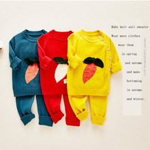 Autumn knitted Newborn Baby Clothes Cotton Fall Winter Romper Infant Toddler Jumpsuit Girls Boys Set Two Piece Baby Sweater(China)