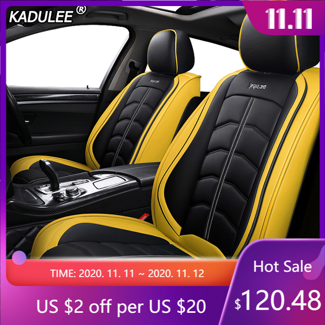 KADULEE luxury leather car seat covers for dodge caliber caravan journey nitro ram 1500 intrepid stratus of 2018 2017 2016 2015