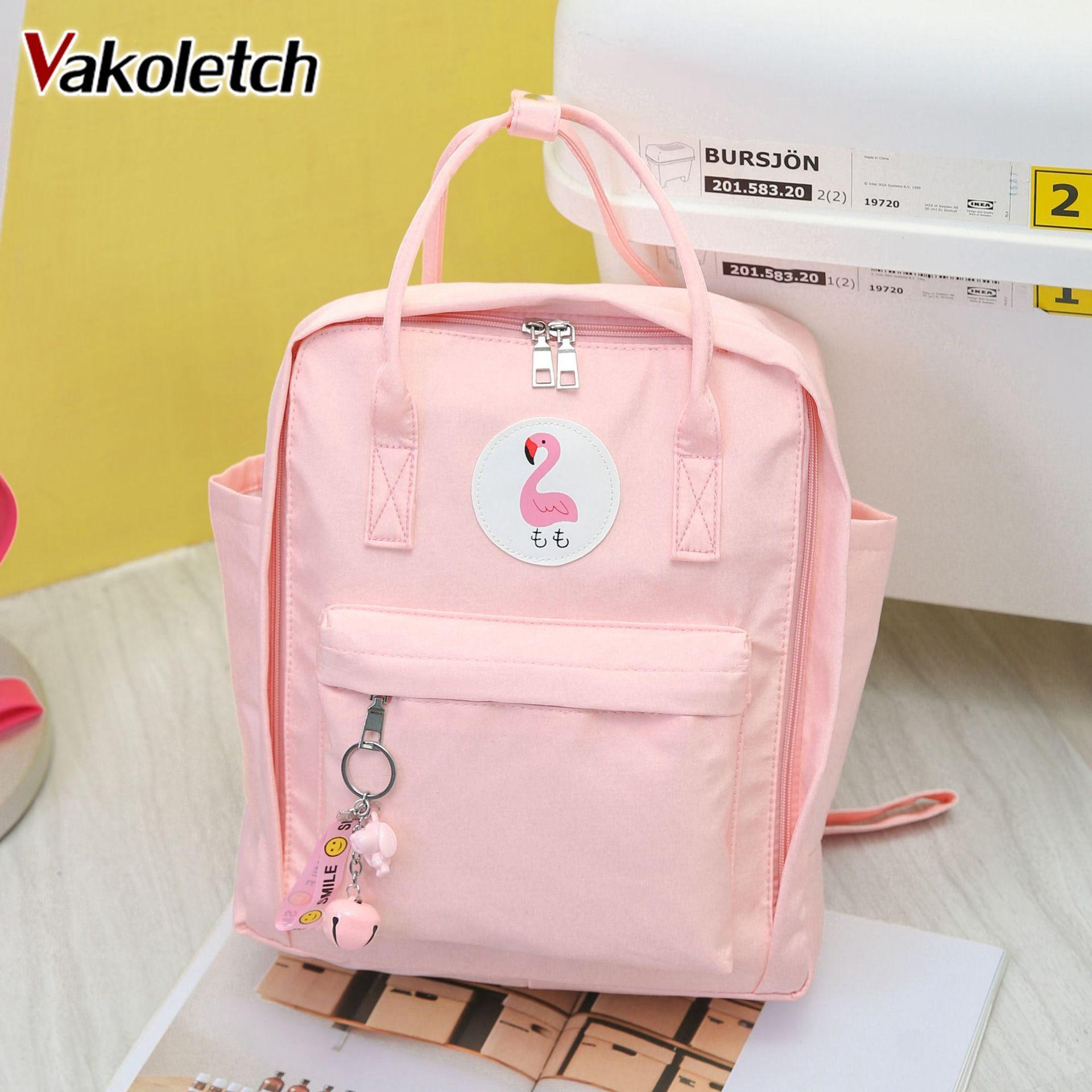Fashion Flamingo Female Backpack School Bag For Girls Harajuku Student Bookbag Preppy Waterproof Nylon Women Backpack KL667