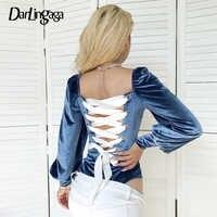 Darlingaga Chic Palace Style Velvet Bodysuit Women Square Neck Lace Up Body Back Bandage Fashion Bodysuits Puff Sleeve Jumpsuit