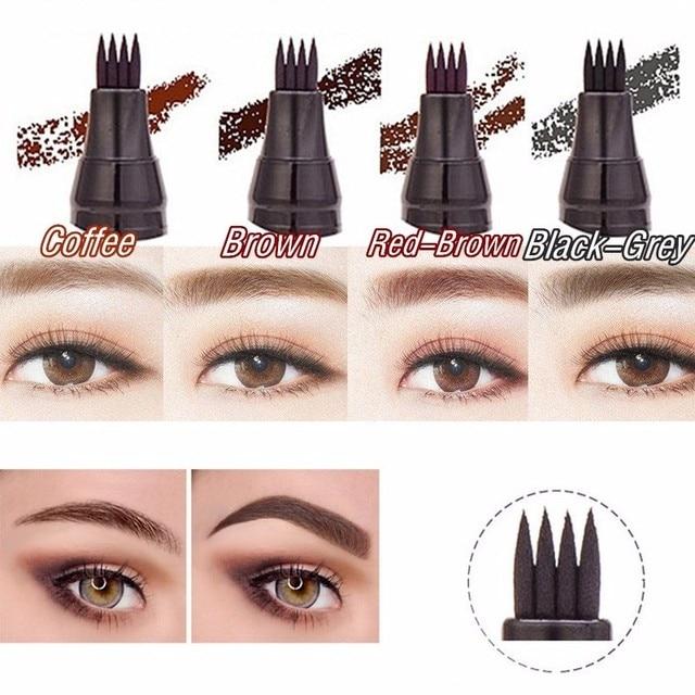 3D Microblading Eye Brow Tattoo Pen 4 Colors 4 Fork Tips Fine Sketch Ink Liquid Eyebrow Pencil Waterproof Tint Eyes Makeup TSLM2 2