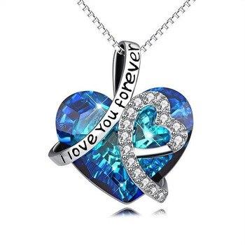 Bule coeur de l oc an en forme de coeur cristal pendentif collier pour femme classique