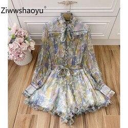 Ziwwshaoyu Elegant Charming Flower Print Long Lantern Sleeve Ruffled Silk Jumpsuits Playsuit Women's High Quality Clothing 2020